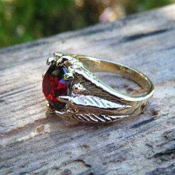 Red Garnet Ring, statement ring, natural gem, feather or leaf texture, organic, medieval, game of thrones ring, knights ring, ExquisiteGem
