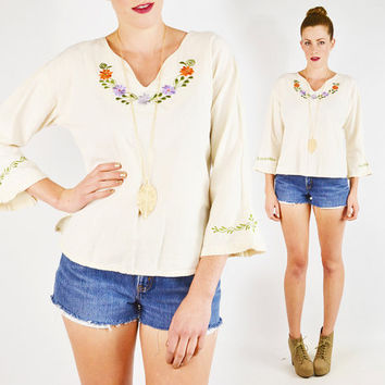 vintage 90s 70s cream MEXICAN EMBROIDERED tunic top / 70s mexican embroidered top / ethnic embroidered hippie top / 70s hippie tunic / s m