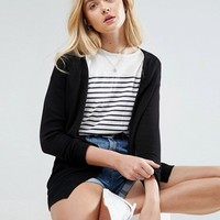 ASOS Cardigan In Fine Knit With Rib Detail at asos.com