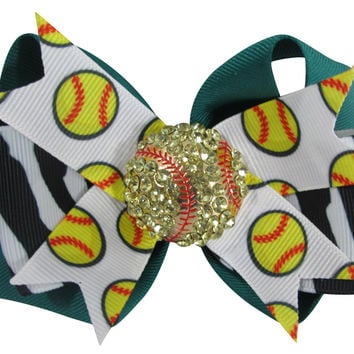 Zebra & Jade Softball Bling Hair Bow Clip with Rhinestone Embellishment for Girls