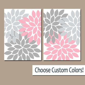 Pink Gray WALL Art,  Pink Gray Nursery Decor, Canvas or Prints, Floral Bathroom Decor, Bedroom Pictures, Flower Nursery Art, Set of 2