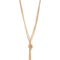 FOREVER 21 Long Knotted Necklace Gold One