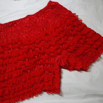 1980s Vintage Square Dance Lace Ruffle Lady's Bloomers or Panties in Red, Size Medium, Vintage Square Dance Costume Dress, Can Can Burlesque