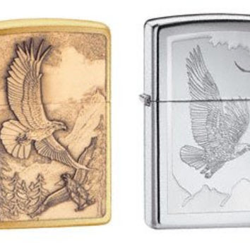 Zippo Lighter Set - Where Eagles Dare Brass Emblem, and Birds of Prey High Polish Chrome, Pack of Two