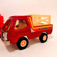 Buddy L Toy Truck Red Metal Horserack 400 Transport Vehicle Vintage 1982 Collectible Farm Truck Toy for Boys