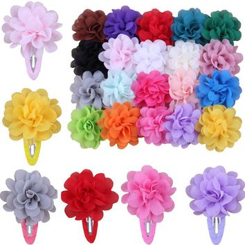 1Pcs 20Colors Chiffon Flower Kids Hair Clips Baby Hairpins Barrettes Child Girls Headwear Hair Accessories Hair Clips el cabello