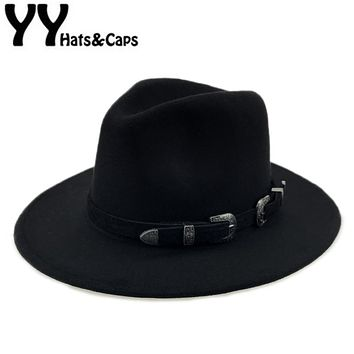 Special Felt Hat Men Fedora Hats with Belt Women Vintage Trilby Caps Wool Fedora Warm Jazz Hat Chapeau Femme feutre YY17094