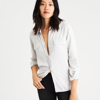 AE Ahh-Mazingly Soft Flannel Cabin Shirt, Gray