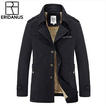 New Fashion Winter Men Upscale Slim Fit Casual Trench Coat/Male Pure Color Pure 100%Cotton British Style Long Jackets M-5XL X788