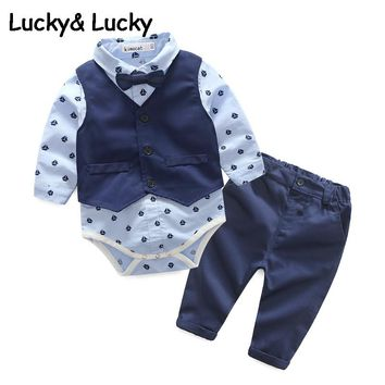 Kimocat baby boy clothes newborns clothes fashion jumpsuit with vest and casual pant for newborn infant clothing