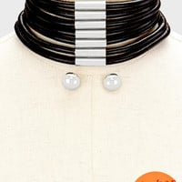 "12.50"" black 2"" wide choker collar bib necklace .60"" earrings 7 row"