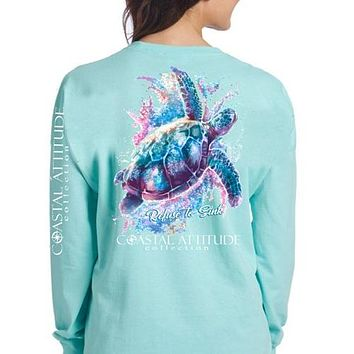 Southern Attitude Preppy Watercolor Turtle Seafoam Long Sleeve T-Shirt