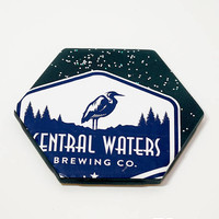 Ceramic Hexagon Beer Label Coaster | Central Waters Brewing Beer | Upcycle Ceramic Tile Coaster | Craft Beer Geek Gift | Single Coaster