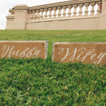 Wifey Hubby Burlap Wood Signs Pair Calligraphy / White Distressed / Wedding Decor / Groom/ Wife / Handwritten / Closet Organize / Newlywed