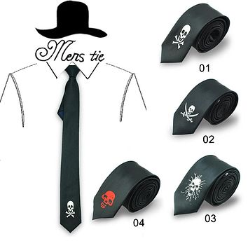 TIE 5cm funny 6 Fashion skull /cross-bone skull/ cross ghost black red tie stropdas skulls tie
