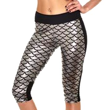 Mermaid Fitness Shorts - Silver