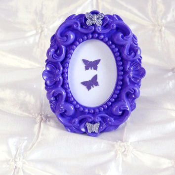 Lupus Awareness Picture Frame Purple Vintage Baroque Style Butterfly Embellished Oval Frame