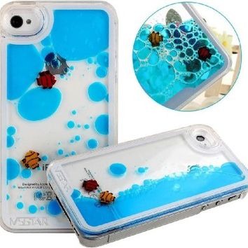YiMoo Phone Case For iPhone 5/ 5S, Dynamic Liquid Flowing Liquid Swimming Fish Cellphone Back Cover for iPhone 5/ 5S Color Blue