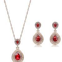 Red Faux Ruby Teardrop Jewelry Set