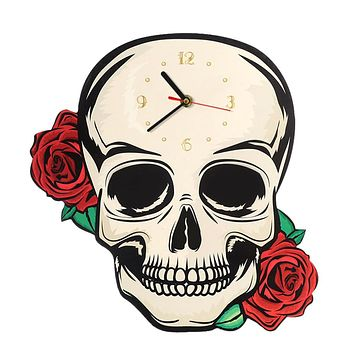 Skull 🕰 ☠ with Red Roses Shaped Wall Clock