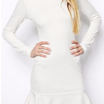 Long Sleeve Bodycon Ruffled Bottom Mini Dress