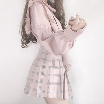 Harajuku Preppy Style Plaid Pleated Skirt