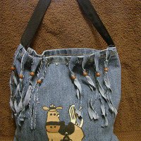Horse Denim Fringed Tote by bagsbyhags45 on Etsy