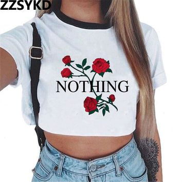ZZSYKD 2018 Vogue T Shirt Women Summer Funny Harajuku Crop Top Tshirt Thin Polyester Print Tee T-shirt Femme Short Sleeve Tops