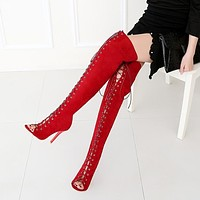 Lace Up Peep Toe Stiletto High Heels Over-Knelt Boots Sandals