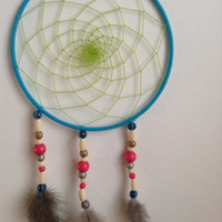 Dream catcher, light blue, green, beads, real feathers, 18 cm in diameter