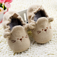 NWT Baby Knitted Mouse Crib Shoes Cartoon Elastic Baby Kids Mice Warm Shoes 0-18 Months Baby NW
