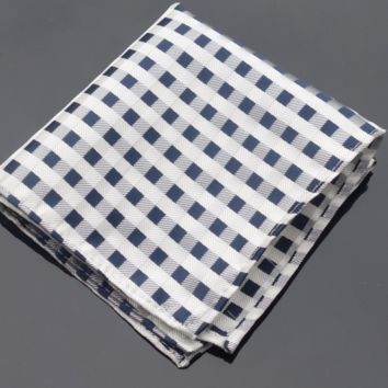 Checkered Blue and White Pocket Square