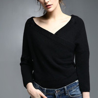 Black Off-Shoulder Cross Over Knitted Top