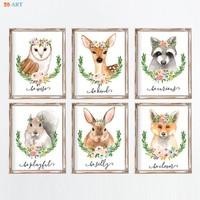 Modern Canvas Painting Woodland Animals Painting Baby Animal Poster and Print Wall Art Kids Room Nursery Decor Baby Shower Gift