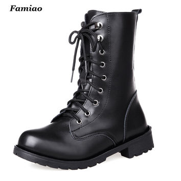 Combat Military Boots Women's Motorcycle  Gothic Punk Combat Boots For Female Shoes