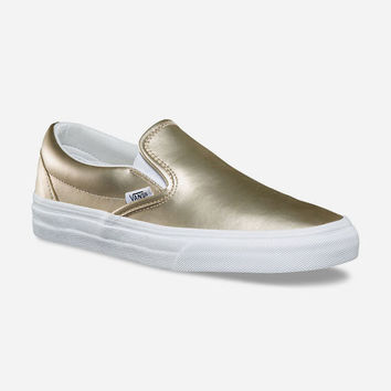 VANS Muted Metallic Classic Slip-On Gold & True White Womens Shoes