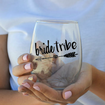 Bride Tribe - Bridal Party Stemless Wine Glass