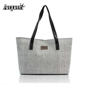 AEQUEEN 2018 Kate Space Women Handbag Summer Beach Bag Canvas Large Shoulder Bags Luggage Shopper Bag Vintage Lady Casual Totes