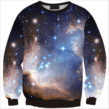 Womens Mens 3D Print Realistic Space Galaxy Animals Hoodie Sweatshirt Top Jumper Black Star SWS0228