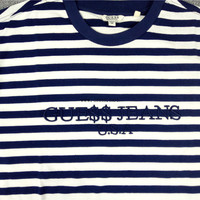 Free shippiing ASAP Rocky ×Guess stripe embroidery tee 3 colors,T-Shirt