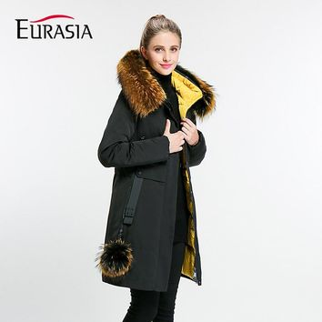 2017 Full Zipper Sequined New Arrival Women Winter Jacket Stand Real Fur Collar Hood Design Warm natural Parkas Coat Y170026