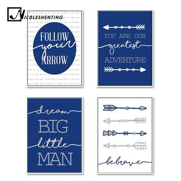 Arrow Cartoon Wall Art Canvas Nordic Poster Dream Big Nursery Quote Prints Painting Wall Picture Kids Boy Bedroom Decoration