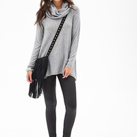FOREVER 21 Cowl Neck Knit Sweater Heather Grey