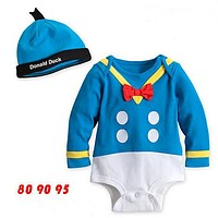 Newborn casual Baby Clothing Jumpsuit Baby Boys 100% cotton infants girls boys baby bodysuits + hat