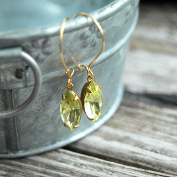 Yellow Rhinestone Earrings . Yellow Bridesmaid Jewelry . Vintage Glass Jewel Earrings . Jonquil Navette . Estate Style Jewelry . Long Dangle