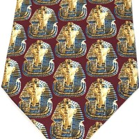 Egyptian Pharaoh King Tutankhamun Mask Men Silk Neck Tie