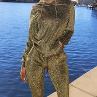Metallic Shimmer Sweatsuit Olive-Gold