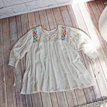 Vintage 1970s Gauze + Embroidered Peasant Blouse
