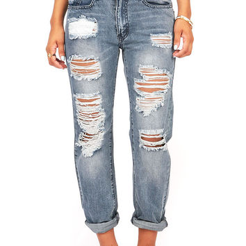 Skeptic Relax Low-Rise Shredded Boyfriend Jeans