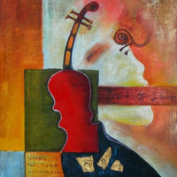The Violin Abstract Oil Painting